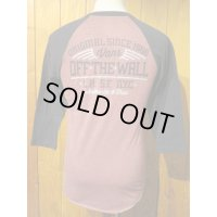 ■バンズ(VANS)■ラグラン七分袖Tシャツ■VANS OFF THE WALL■バーガンディ×ブラック■メンズ US(S)サイズ