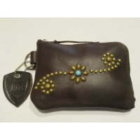 HTC CORNER ZIP PURSE Studs with TQ (Dark Brown)