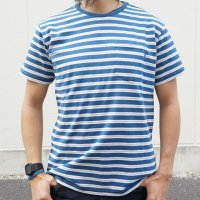 TURN ME ON(ターンミーオン) インディゴボーダー S/S TEE WASHED BLUE(BROWN LINE) (MENS)M/Lサイズ