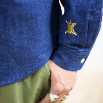 画像3: TURN ME ON(ターンミーオン)インディゴ染 ヘリンボンL/Sシャツ(INDIGO) (MENS)M/Lサイズ 送料無料