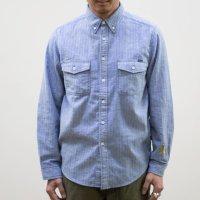 TURN ME ON(ターンミーオン)インディゴ染 ヘリンボンL/Sシャツ(BLUE) (MENS)M/Lサイズ 送料無料