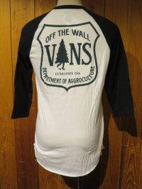 ■バンズ(VANS)■ラグラン七分袖Tシャツ■VANS OFF THE WALL■ホワイト×ブラック■メンズ US(S)/(M)サイズ