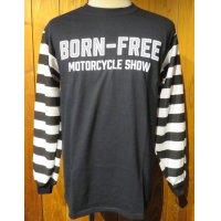 [BORN FREE MOTORCYCLE SHOW] イベント長袖Tシャツ BORN FREE JAIL BIRD JERSEY■ブラック×ホワイト■(メンズ)S/M/Lサイズ■USA買付商品